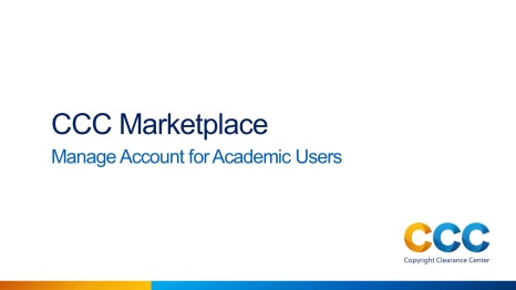 Manage Account for Academic Users