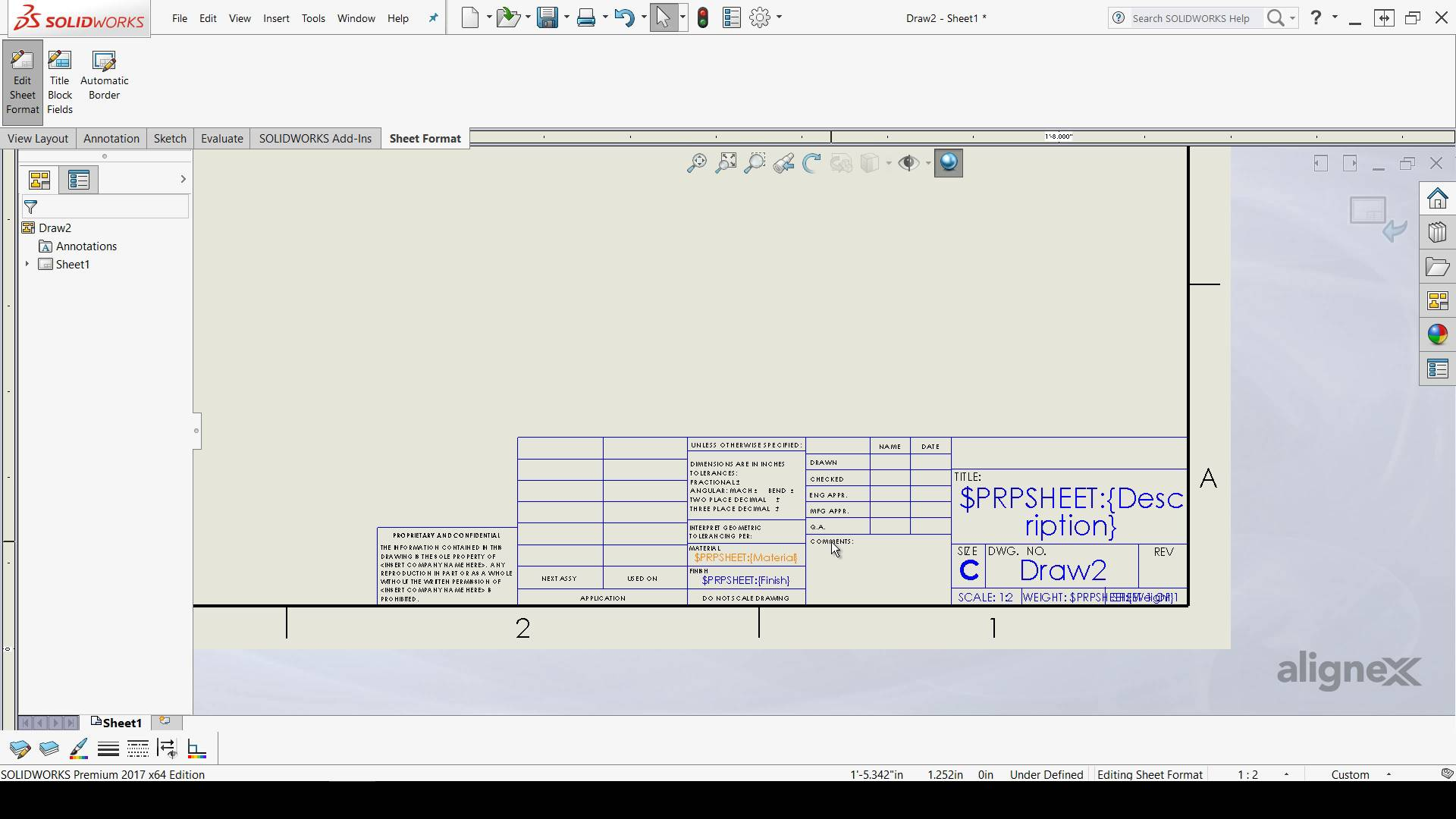 Alignex blog for Solidworks drawing template tutorial