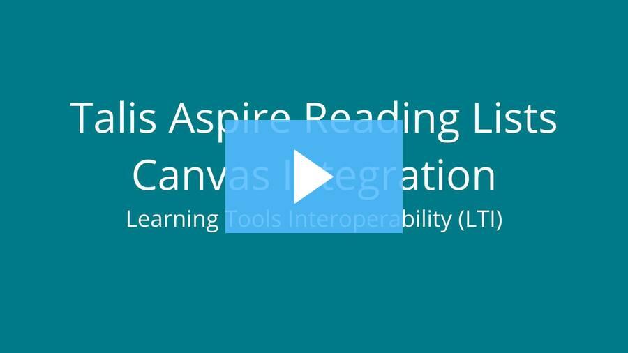 Talis Aspire LTI and Canvas