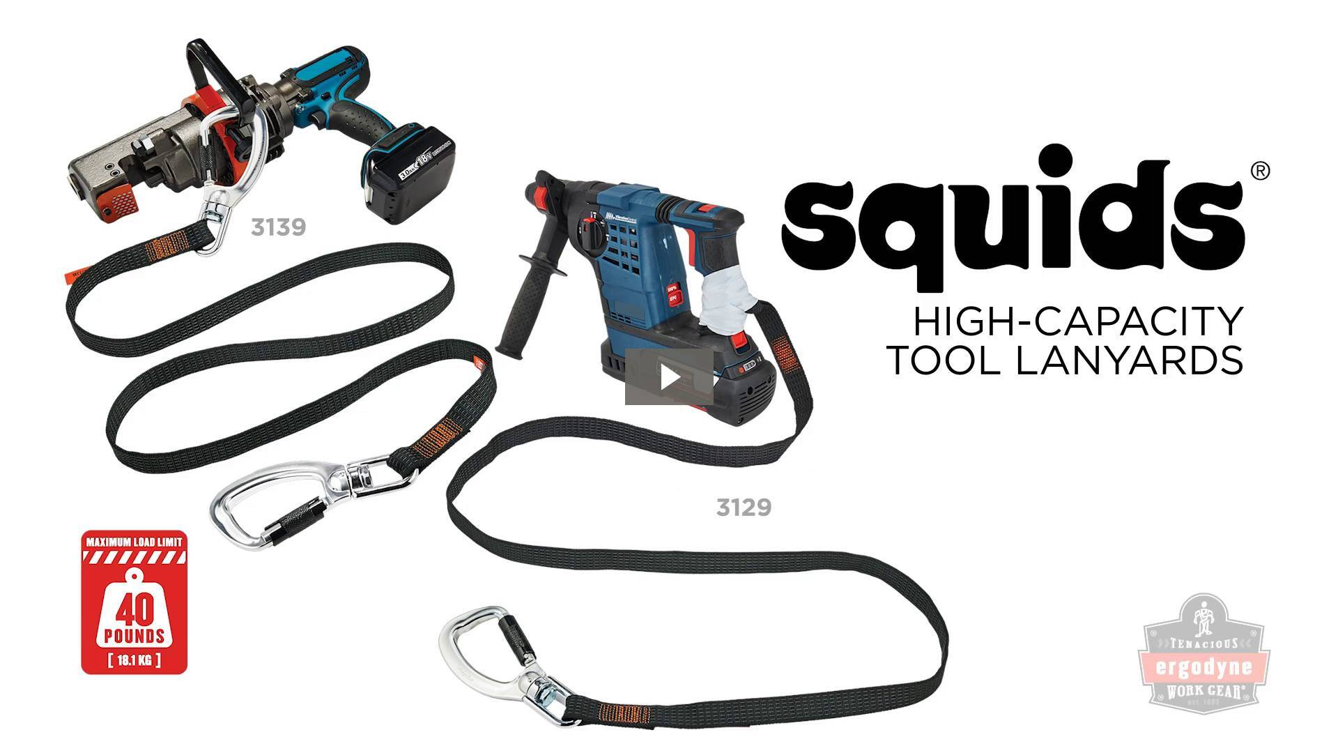 Ergodyne Product Video - Squids<sup>®</sup> 3129 Tool Lanyard Double-Locking Single Carabiner with Swivel - 40lbs