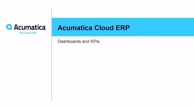 Acumatica Dashboards and KPIs