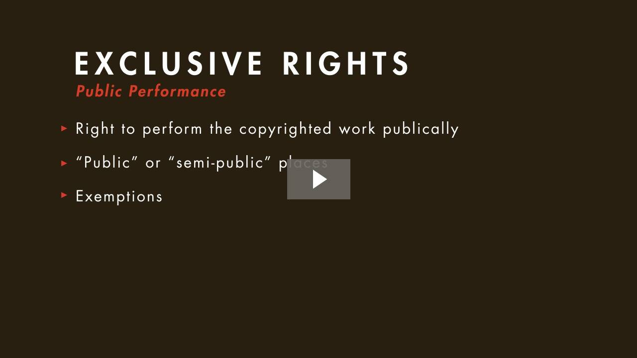 Exclusive Rights and Their Limitations