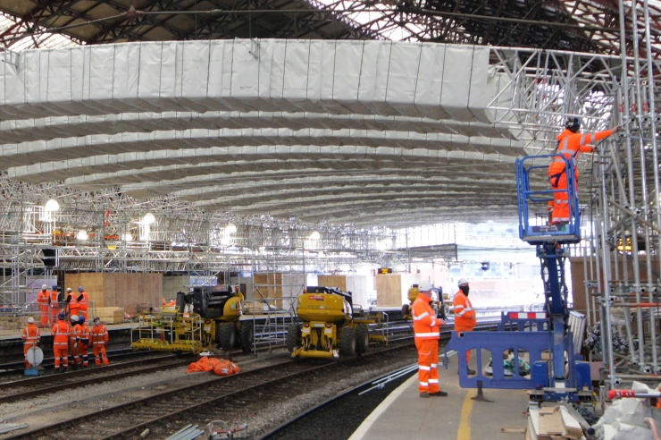 Bristol Temple Meads Station Refurbishment - Scaffolding and Beam Installation