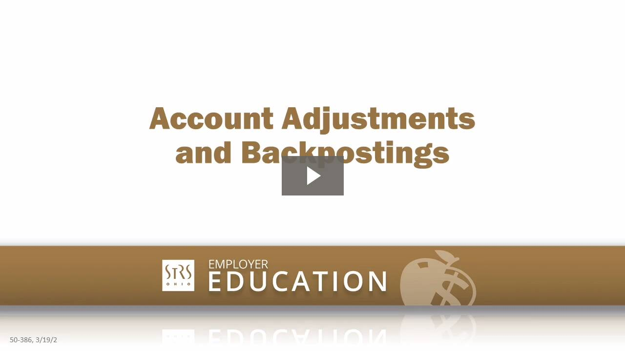Thumbnail for the 'Account Adjustments and Backpostings' video.