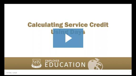 Thumbnail for the 'Calculating Service Credit Using Days' video.
