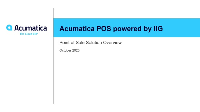 Acumatica Point of Sale powered by IIG