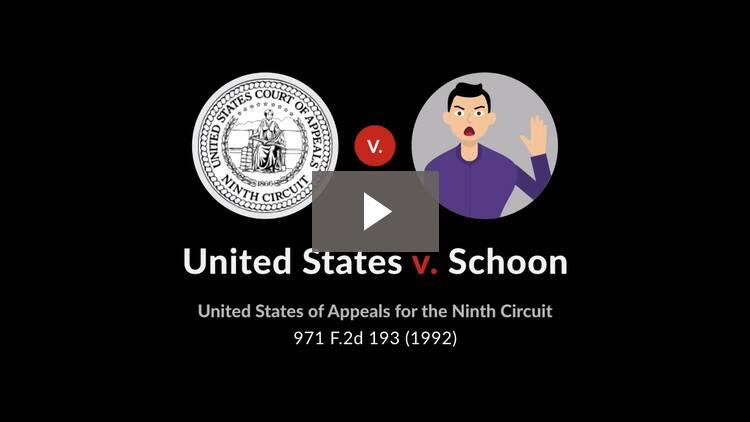 United States v. Schoon