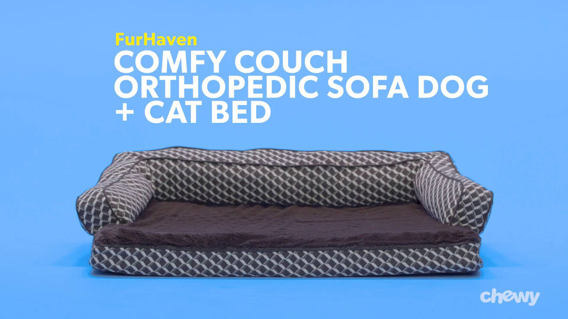 FurHaven Comfy Couch Orthopedic Sofa Dog U0026 Cat Bed, Diamond Brown, Large    Chewy.com
