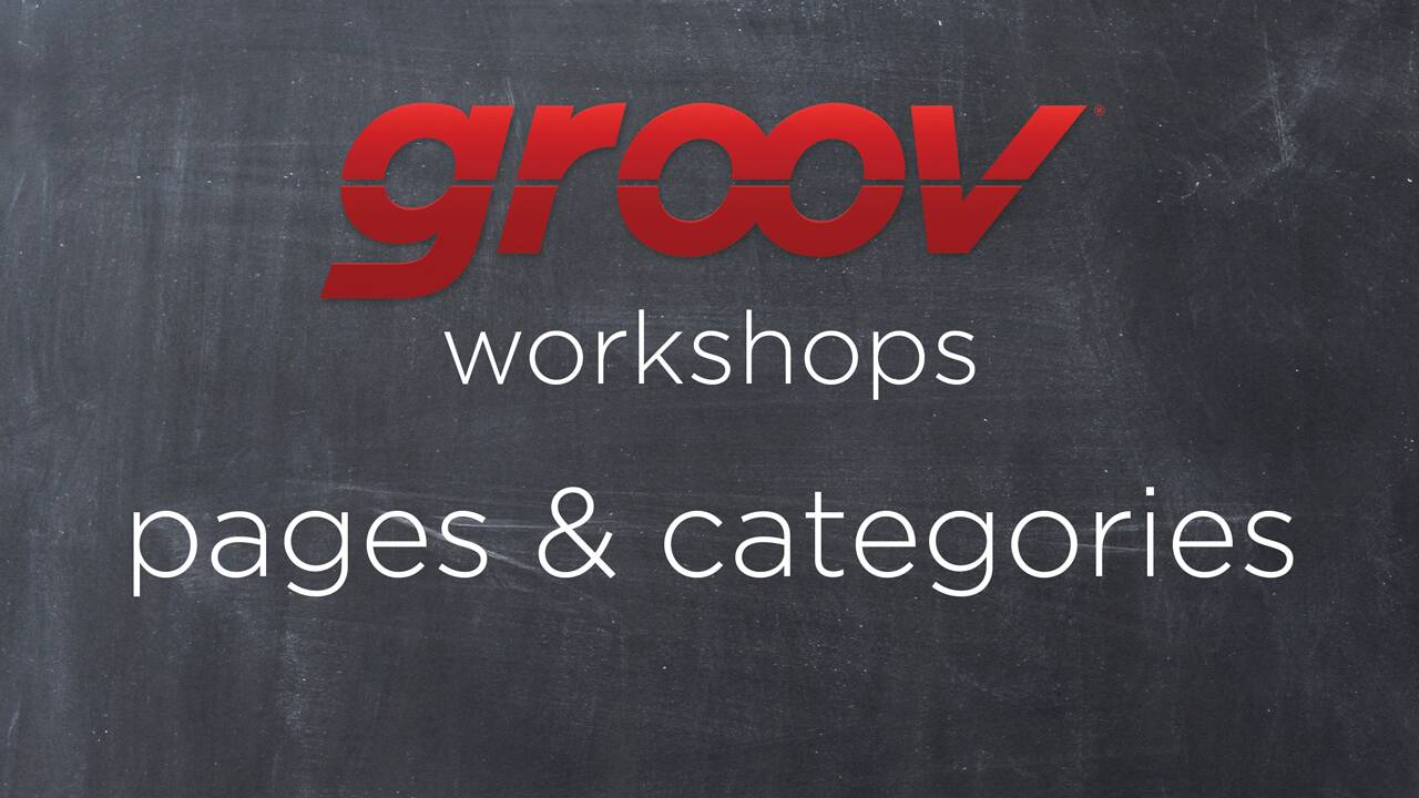 Pages & categories in groov