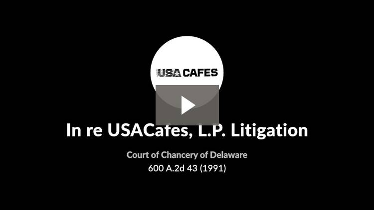 In re USACafes, L.P. Litigation