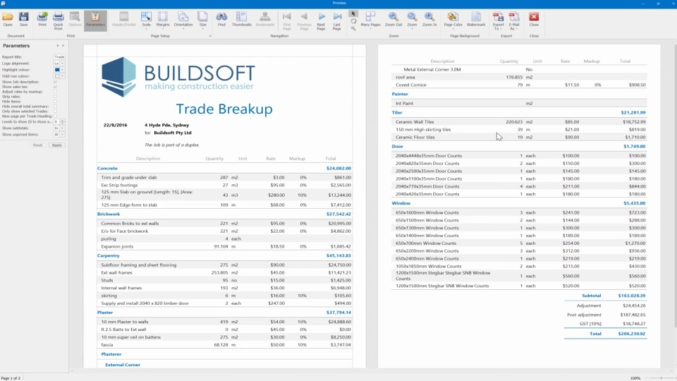 Buildsoft  Estimating Software