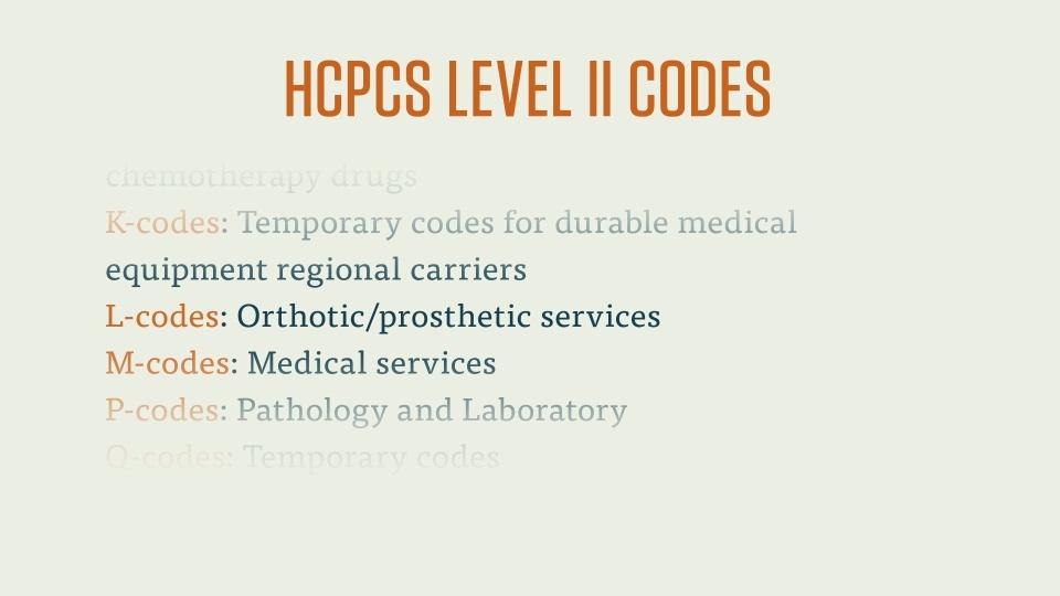 CPC Exam: HCPCS Level II