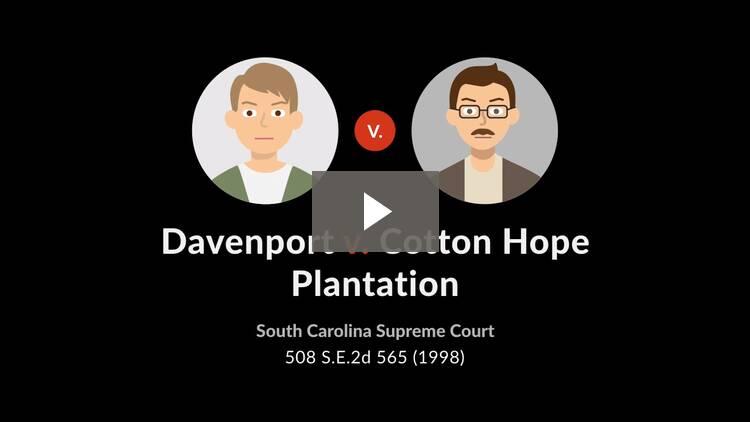 Davenport v. Cotton Hope Plantation Horizontal Property Regime