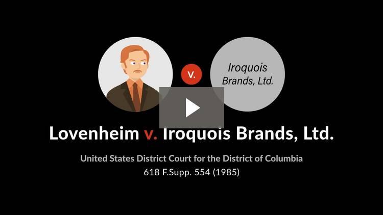 Lovenheim v. Iroquois Brands, Ltd.