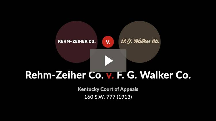 Rehm-Zeiher Co. v. F.G. Walker Co.