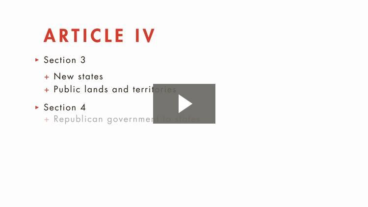 Articles IV Through VII of the Constitution