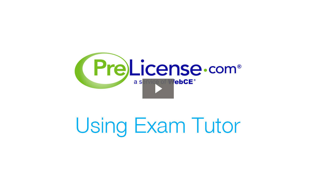 PreLicense Tip - Using Exam Tutor