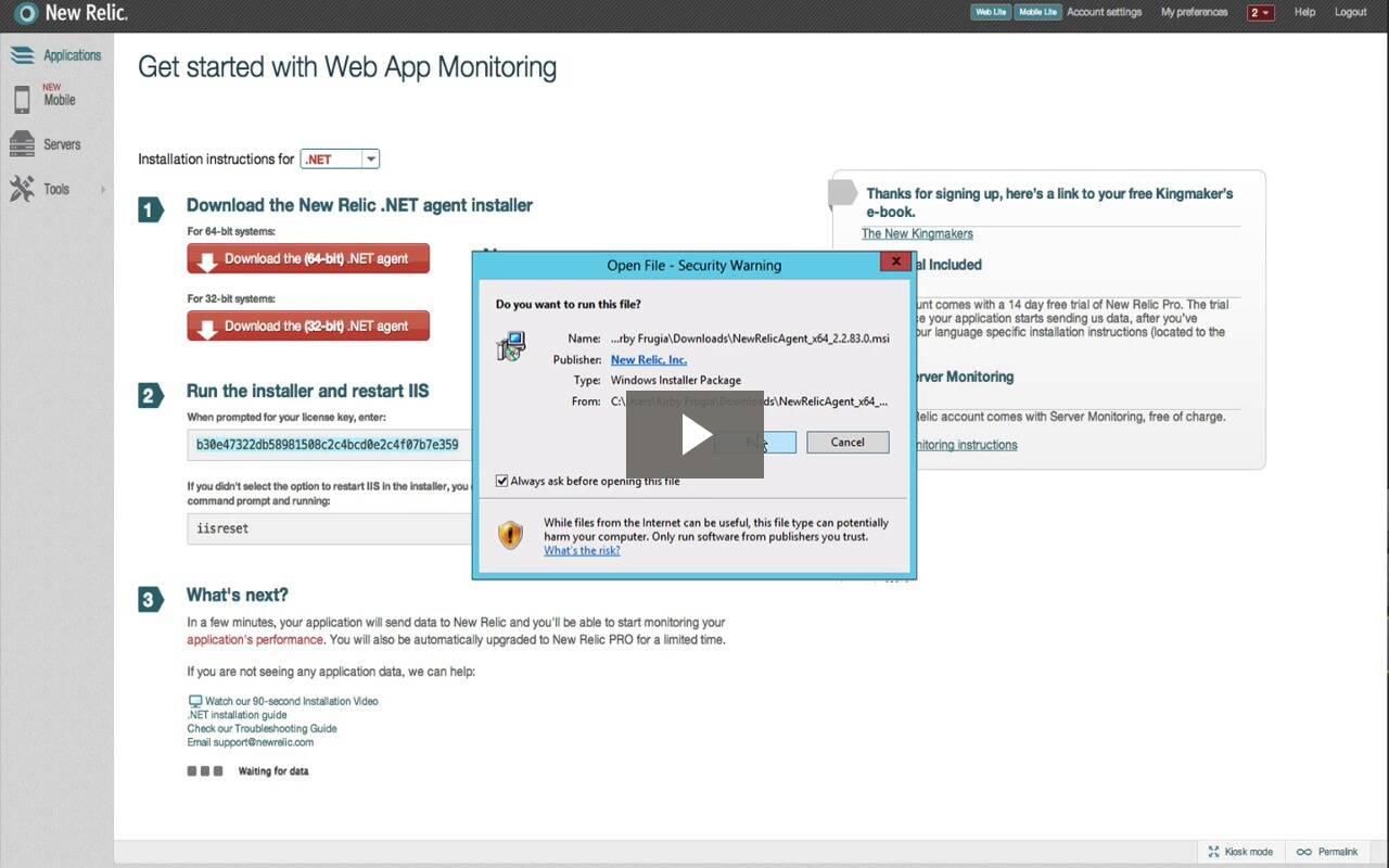 Vídeo de instalação do monitoramento .NET