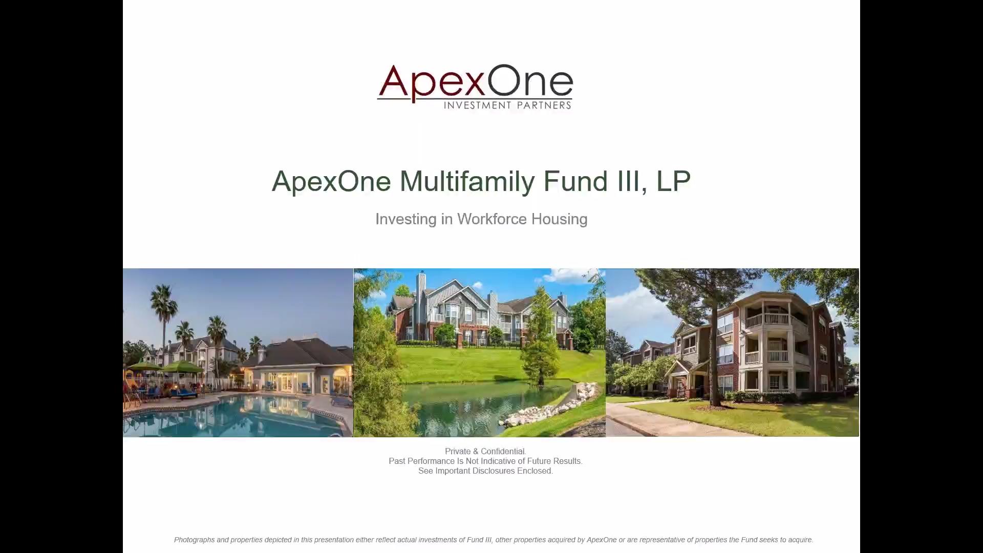 Investment Video - ApexOne Multifamily Fund III, LP