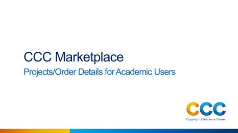 Projects/Order Details for Academic Users