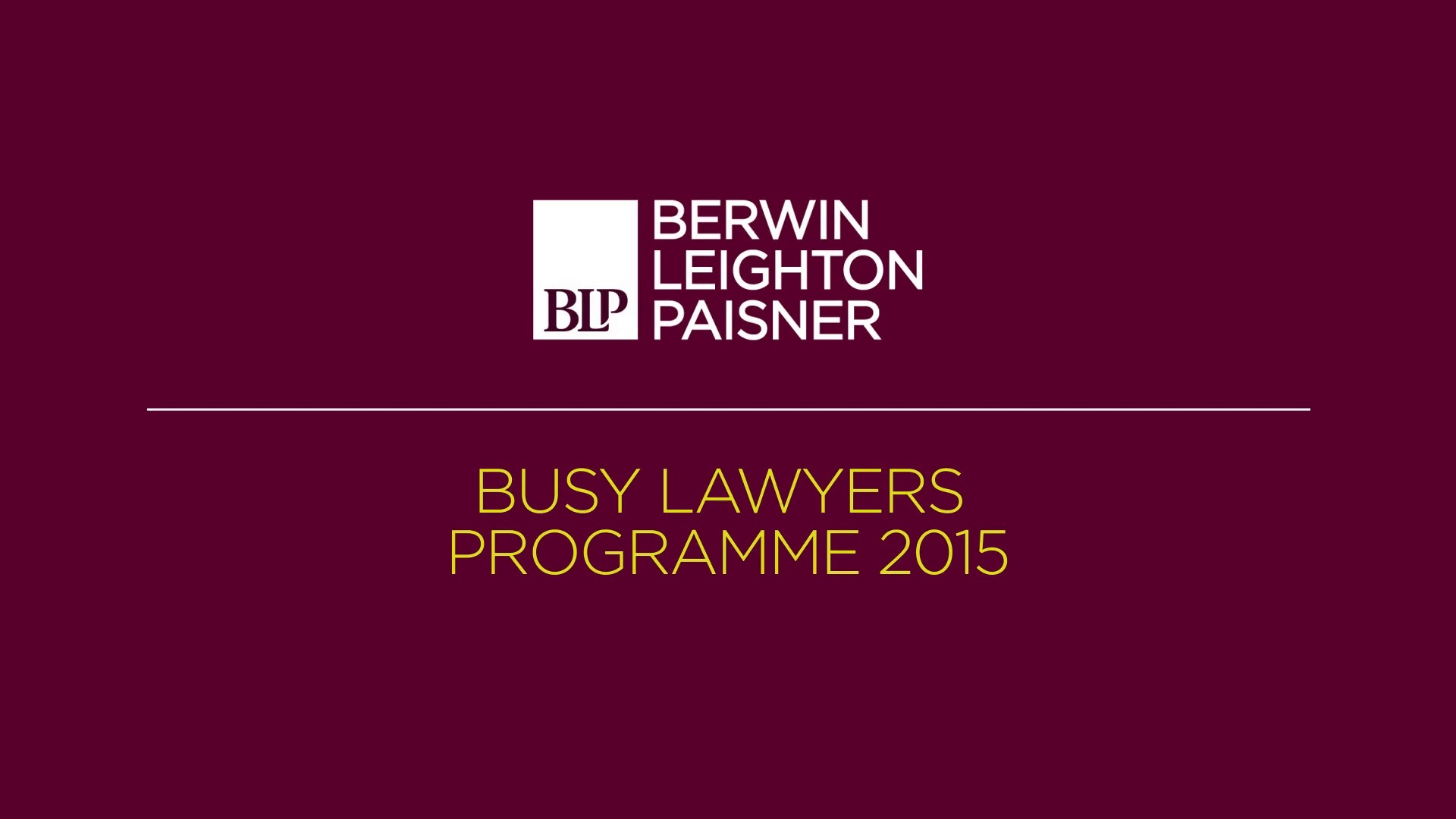 Still image from 'Busy Lawyers Programme 2015' video