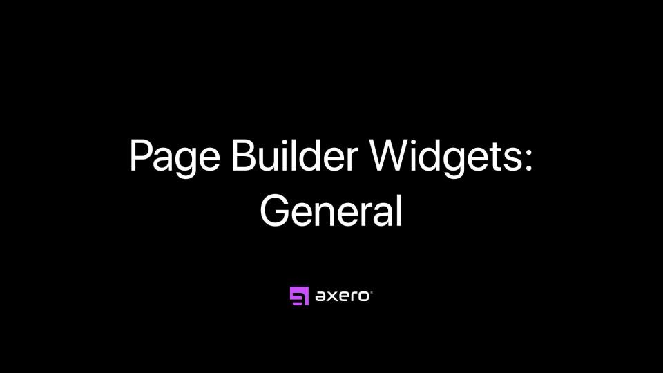 Page Builder Widgets: General
