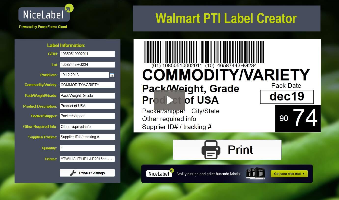 PTI label printing