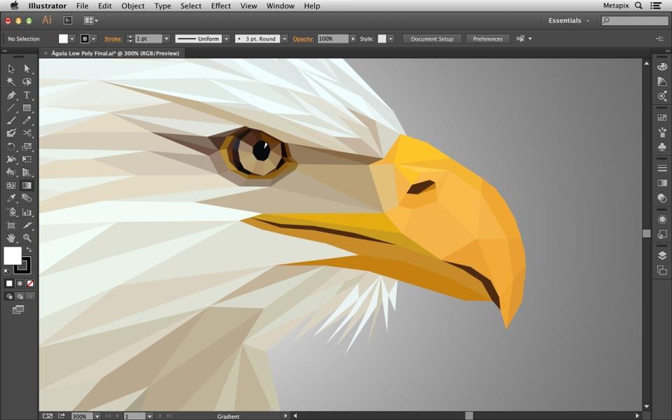 Ilustração de águia em Low Poly
