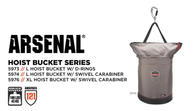 Arsenal® 5973, 5974 & 5976 Hoist Buckets Feature Zippered Tops For ANSI 121 Approved Drop Prevention