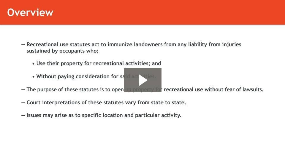 Introduction to Recreational Use Statutes