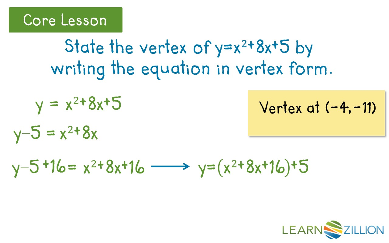 Write a quadratic equation in vertex form by completing the square ...