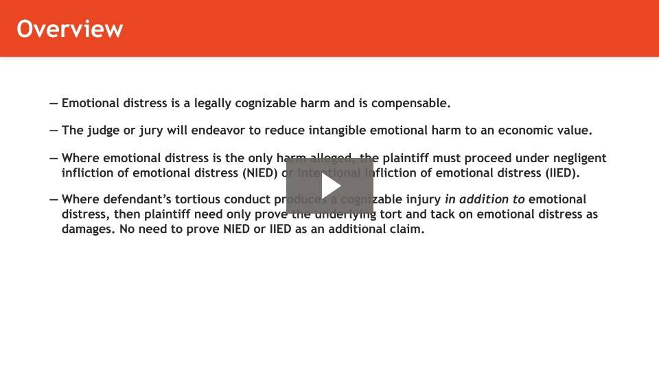 Emotional Distress as Damage